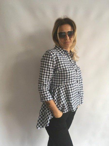 Koszula w kratę z baskinką