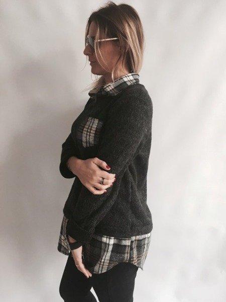 Sweter z kołnierzem w kratę grafitowy