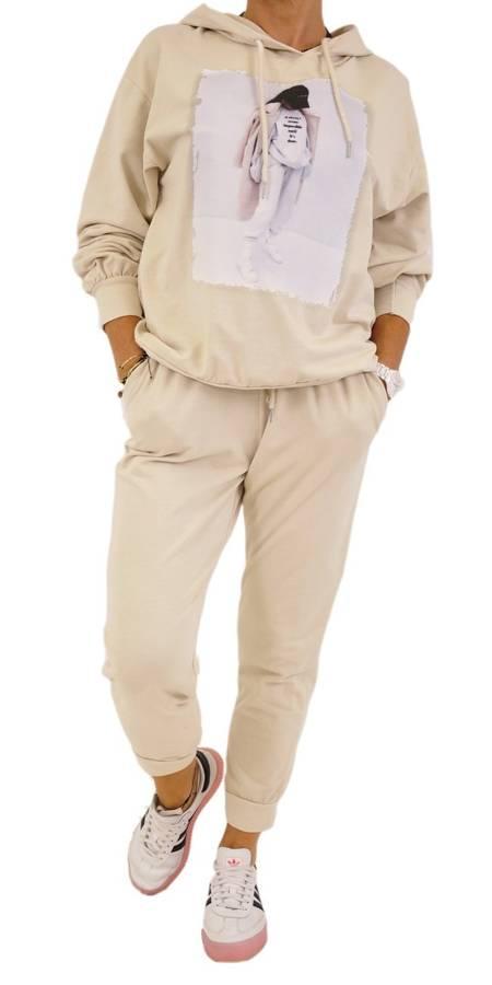 Bluza beż kaptur z nadrukiem