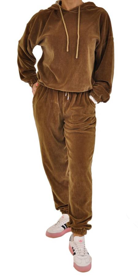 Bluza camelowa welur z kapturem