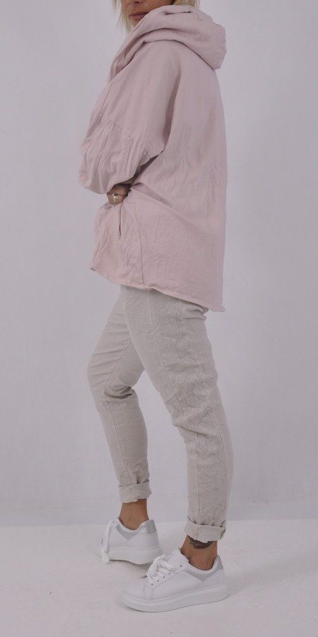 Bluza różowa oversize z kapturem