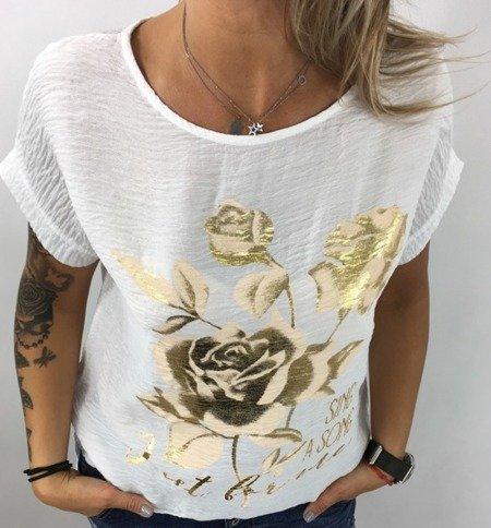 Bluzka beżowa w złote róże.