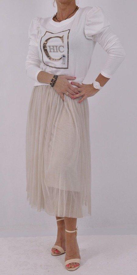 Bluzka biała Chic z bufkami