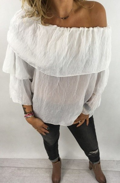 Bluzka biała falbana