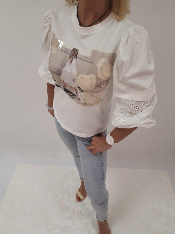 Bluzka biała z bufkami i gipiurą