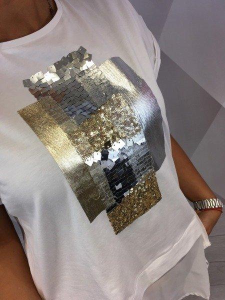 Bluzka biała ze srebrną aplikacją M/L.