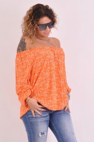 Bluzka kwiatki pomarańczowa