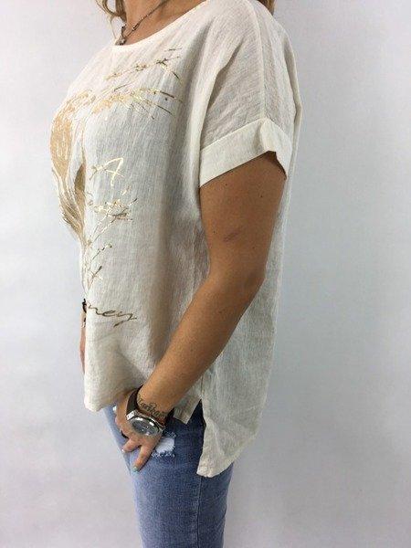 Bluzka lniana beżowa z aplikacją.