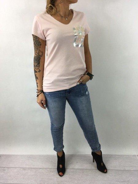 Bluzka różowa kieszeń