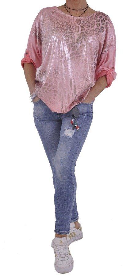 Bluzka różowa w panterę z poświatą.