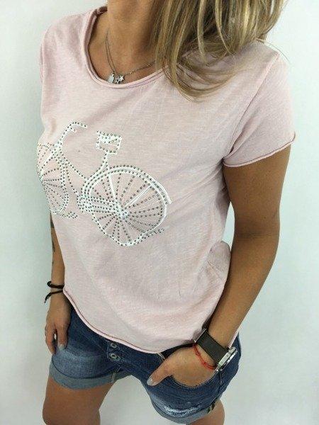 Bluzka różowa z motywem roweru.
