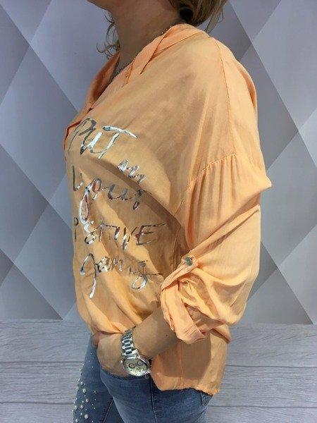 Bluzka srebrne napisy morelowa