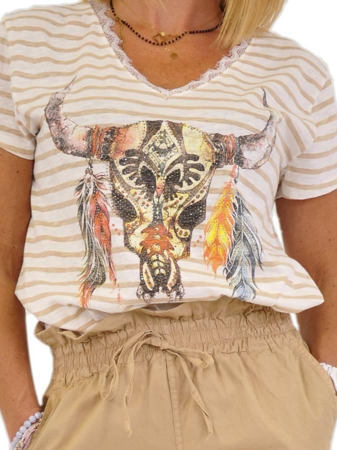 Bluzka w beżowe paski z motywem byka