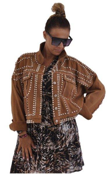 Brązowa kurtka jeansowa z ćwiekami i przetarciam