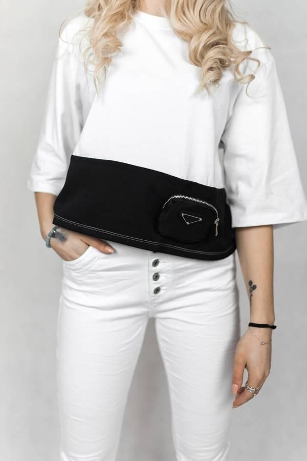 Cudowna biało-czarna bluzka z odpinaną torebką S/M