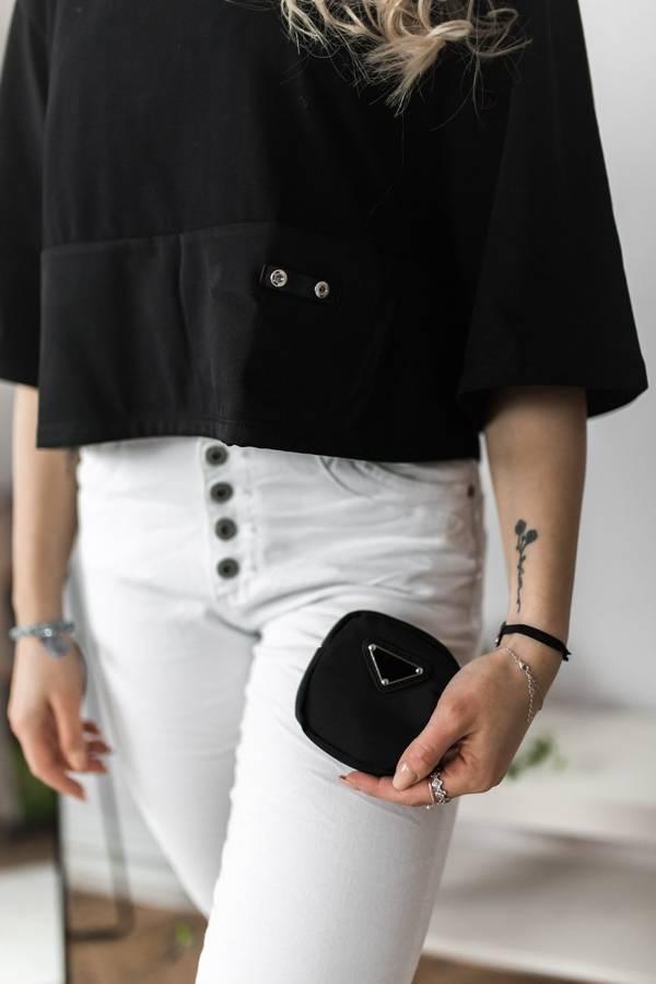 Elastyczne białe spodnie zapinane na guziki S