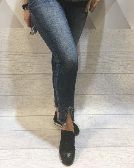 Jeansy z ozdobnymi nogawkami XS