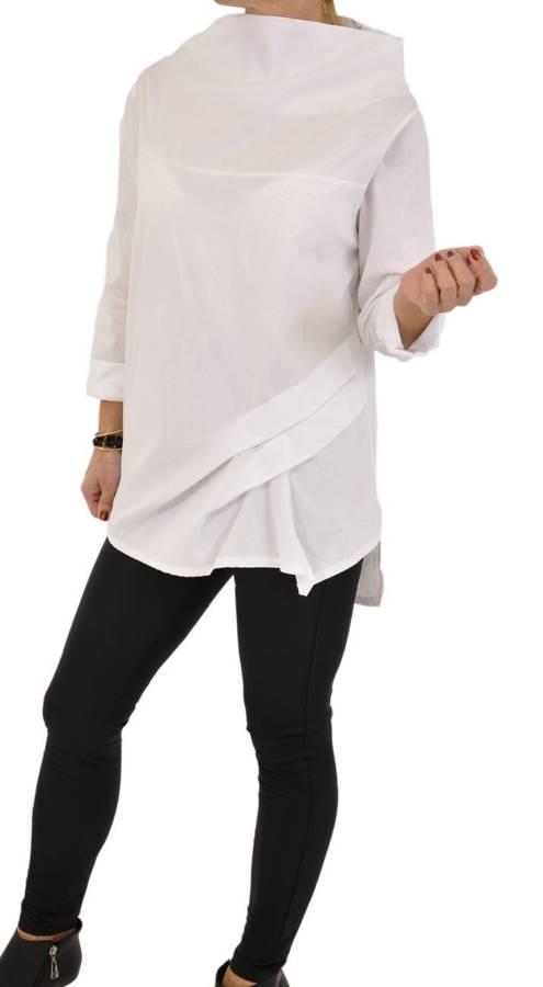 Koszula biała na stójce z plisami