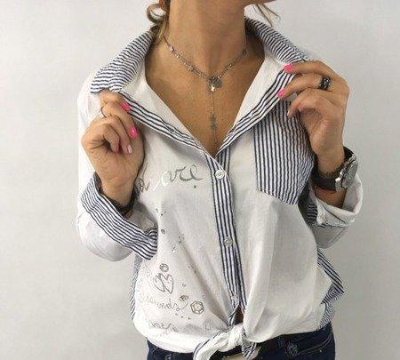 Koszula paski i nadruk