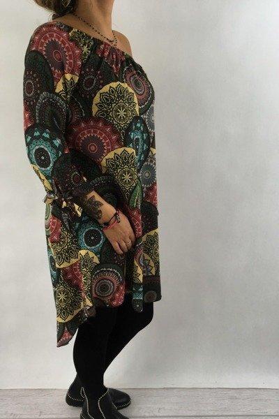 SUK181015-Sukienka wzór zielona
