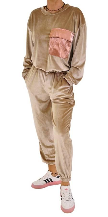 Spodnie beżowe welurowe na gumce S/M