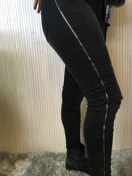 Spodnie czarne lampas L