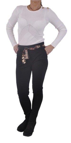 Spodnie czarne z materiałowym paskiem S