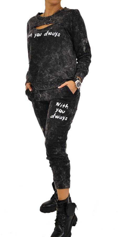 Spodnie grafit marmurek z napisem