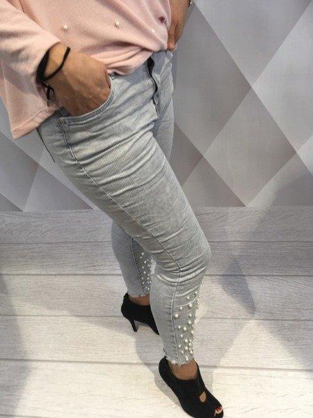 Spodnie jeans z perłami L