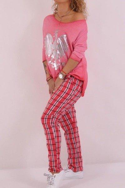 Spodnie krata róż