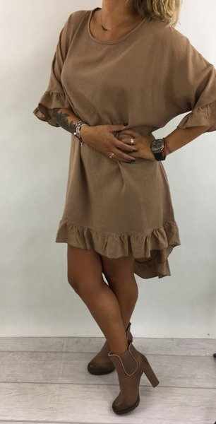 Sukienka asymetryczna kamel