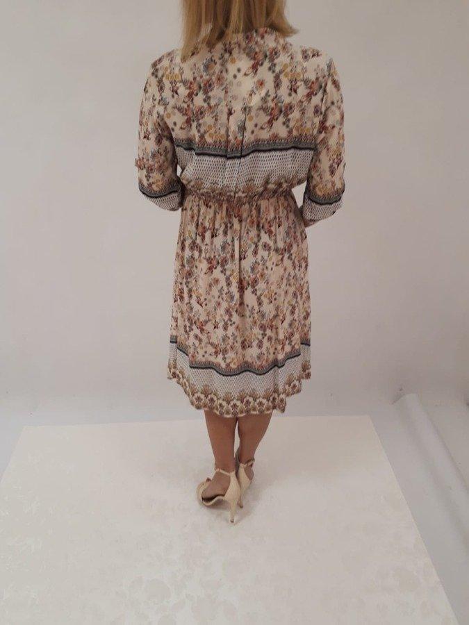Sukienka beż wzór wiązana