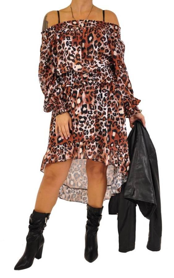 Sukienka brązowa w panterę asymetryczna