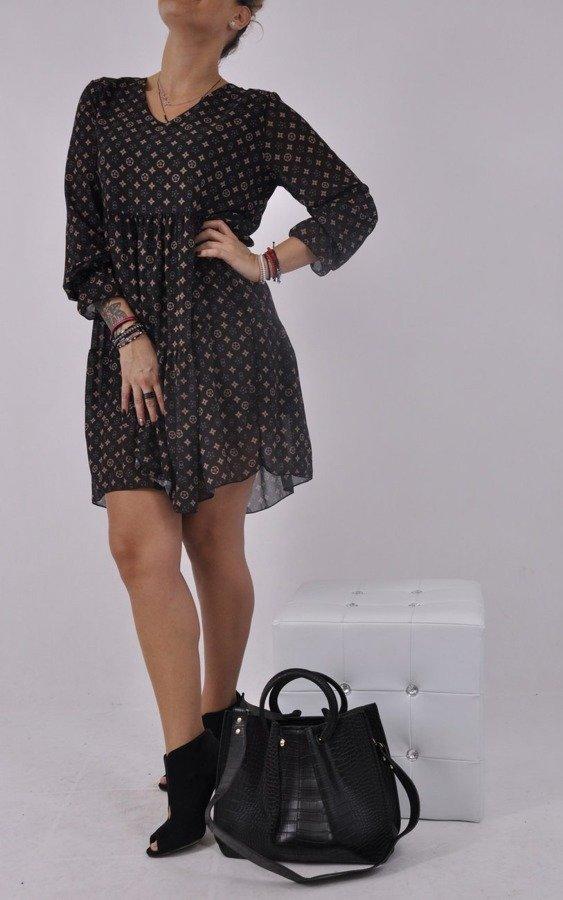 Sukienka czarna wzór