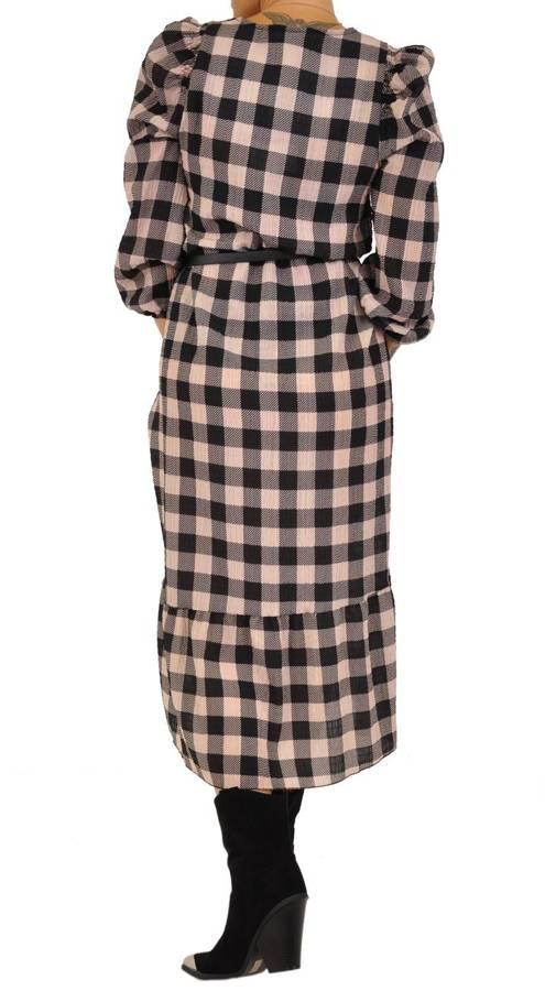 Sukienka długa w beżową kratkę