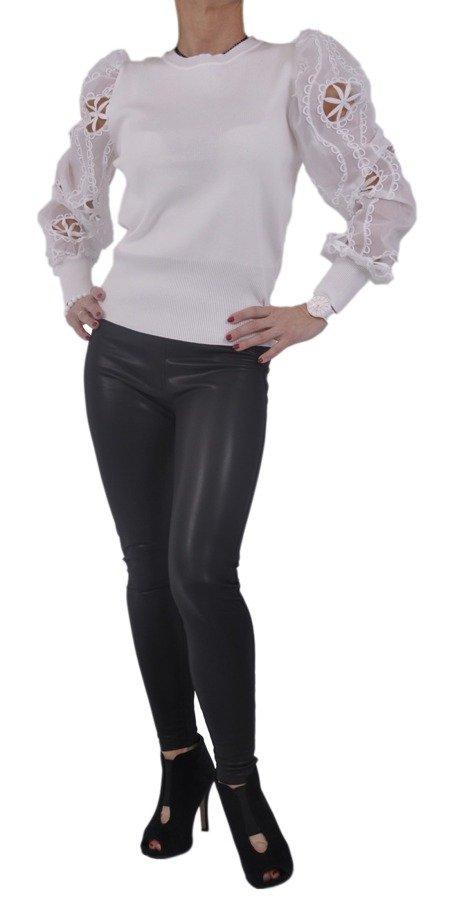 Sweter biały rękaw tiul koronka S/M