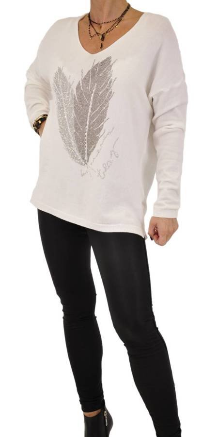 Sweter biały ze srebrnym liściem