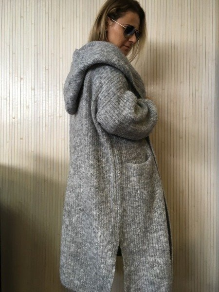Sweter kardigan szary kaptur