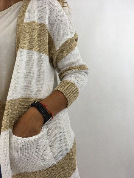 Sweter kardigan złote paski