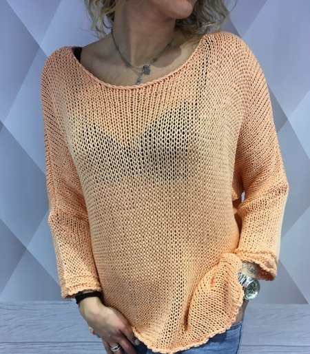Sweter niciany morelowy