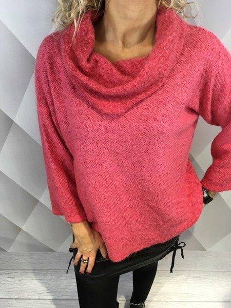 Sweter różowy z dodatkiem moheru