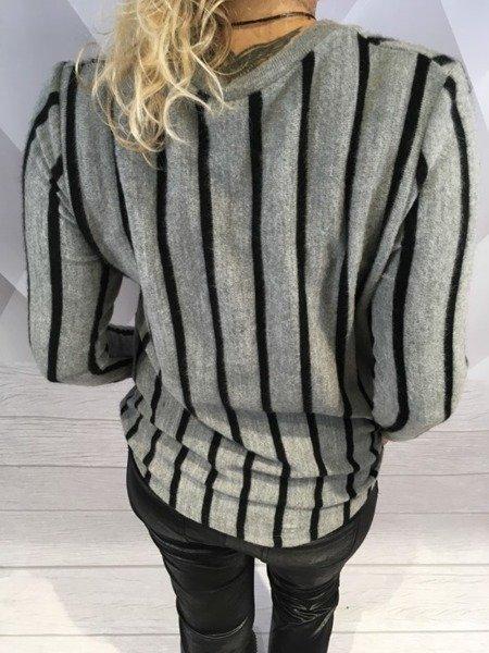 Sweter szary w czarne paski
