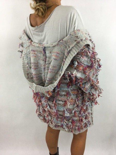 Sweter szary w kolorowe nitki