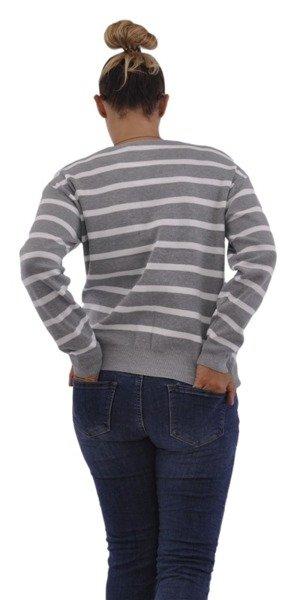 Sweter szary w paski z dekoltem w serek