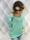 Sweter niciany zielony