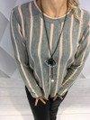 Sweter szary w różowe paski