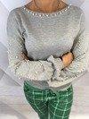Sweter z perłami i dekoltem na plecach S/M